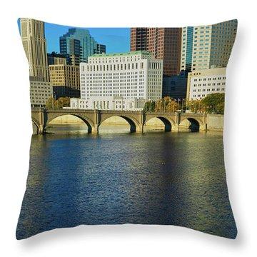 Scioto River And Columbus Ohio Skyline Throw Pillow