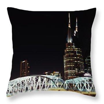 Skylines And Shelby Street Bridge Throw Pillow
