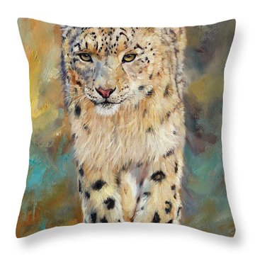 Snow Leopard Throw Pillow by David Stribbling