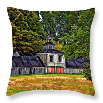 5 Star Barn Paint Filter Throw Pillow by Steve Harrington