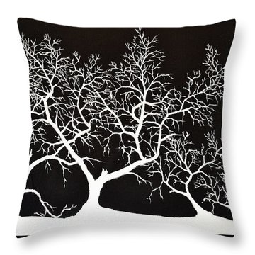 5 Trees In Black And White Throw Pillow