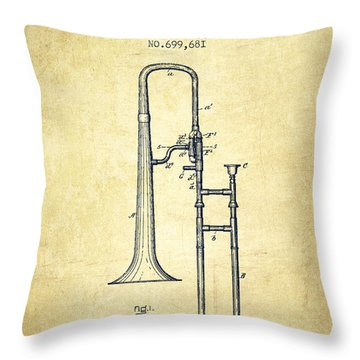 Trombone Patent From 1902 - Vintage Throw Pillow by Aged Pixel
