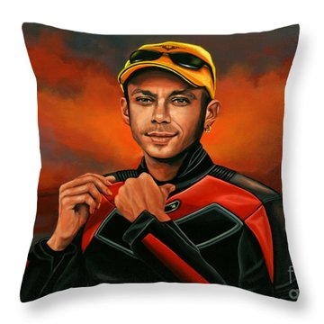 Valentino Rossi  Throw Pillow by Paul Meijering