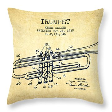 Vinatge Trumpet Patent From 1939 Throw Pillow by Aged Pixel