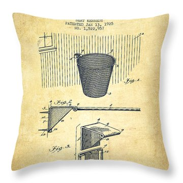 Vintage Basketball Goal Patent From 1925 Throw Pillow by Aged Pixel