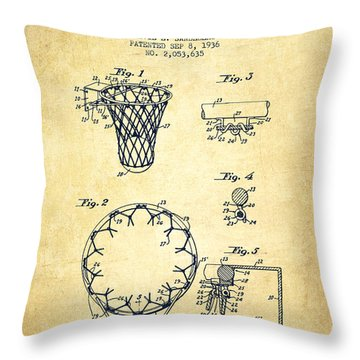 Vintage Basketball Goal Patent From 1936 Throw Pillow