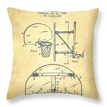 Vintage Basketball Goal Patent From 1944 Throw Pillow