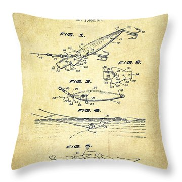 Vintage Fishing Lure Patent Drawing From 1969 Throw Pillow