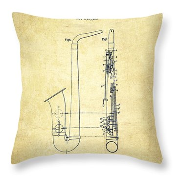 Saxophone Patent Drawing From 1899 - Vintage Throw Pillow by Aged Pixel
