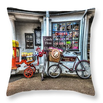 Ye Olde Sweet Shoppe Throw Pillow by Steve Purnell