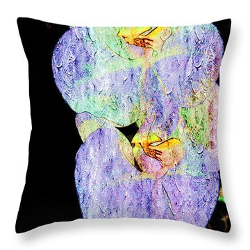 Orchids In Violet Blue Throw Pillow