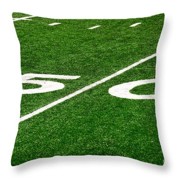 50 Yard Line On Football Field Throw Pillow