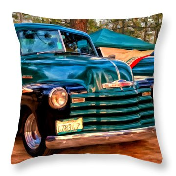 '51 Chevy Pickup With Teardrop Trailer Throw Pillow by Michael Pickett