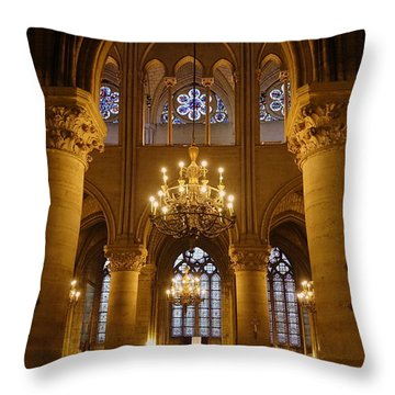 Architectural Artwork Within Notre Dame In Paris France Throw Pillow