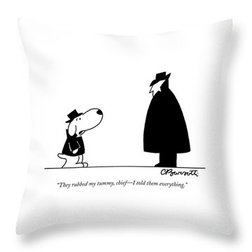 They Rubbed My Tummy Throw Pillow by Charles Barsotti