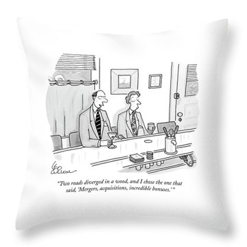 Two Roads Diverged In A Wood Throw Pillow
