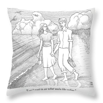 I Can't Wait To See What You're Like Online Throw Pillow