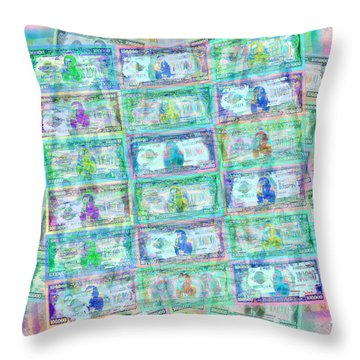 540 Million Dollars Blue Green Pastel Throw Pillow