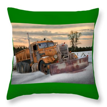 Throw Pillow featuring the digital art '55 Pete Snowplow by Stuart Swartz