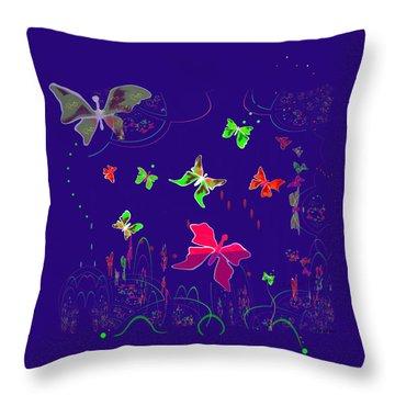 558 - Shining Butterflies   Throw Pillow