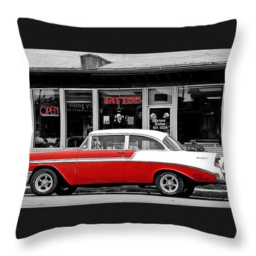Throw Pillow featuring the photograph '56 Tattoo by Christopher McKenzie