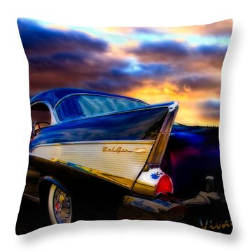 57 Belair Hardtop Cruise Is Done Throw Pillow