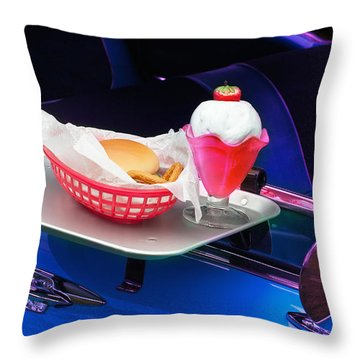 Throw Pillow featuring the photograph 57 Chevy At A Drive-in by Gunter Nezhoda