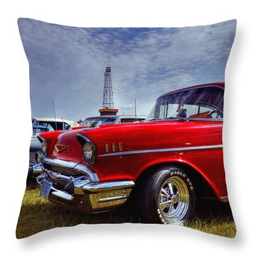 Throw Pillow featuring the photograph 57 Chevy Belair by Trey Foerster