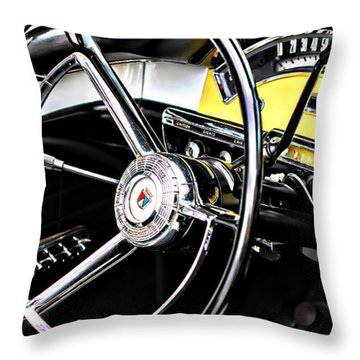 Old Car Throw Pillow featuring the photograph '57 Ford Fairlane 500 by Aaron Berg