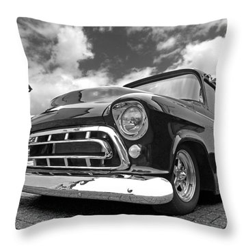 57 Stepside Chevy In Black And White Throw Pillow