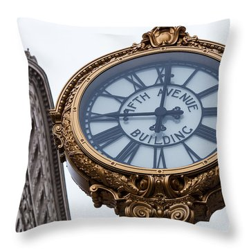 5th Avenue Clock Throw Pillow by John Farnan