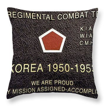 5th Regimental Combat Team Arlington Cemetary Memorial Throw Pillow