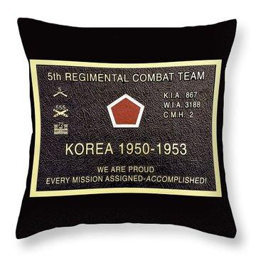 5th Regimental Combat Team Arlington Cemetary Memorial Throw Pillow