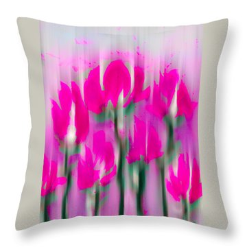 Throw Pillow featuring the digital art 6 1/2 Flowers by Frank Bright