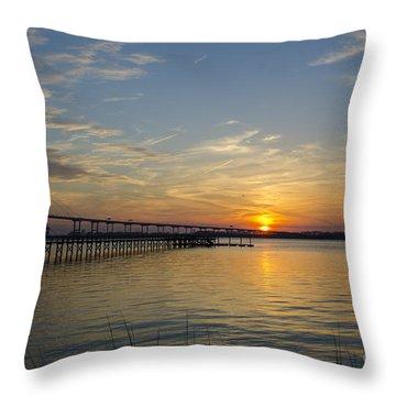 Arthur Ravenel Bridge Tranquil Sunset Throw Pillow by Dale Powell