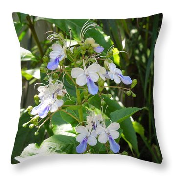 Blue Butterfly Bush Throw Pillow
