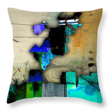 Boston Map And Skyline Watercolor Throw Pillow