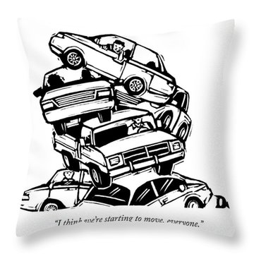 6 Cars Pile On Top Of One Another Throw Pillow