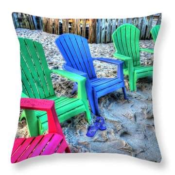 Throw Pillow featuring the digital art 6 Chairs by Michael Thomas