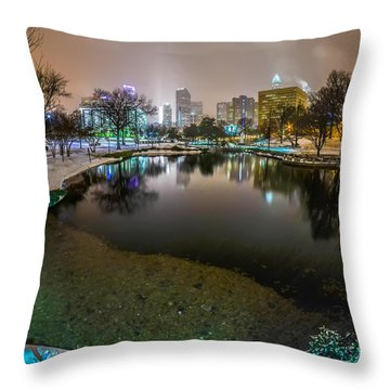 Charlotte Nc Skyline Covered In Snow In January 2014 Throw Pillow