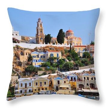 Colorful Symi Throw Pillow