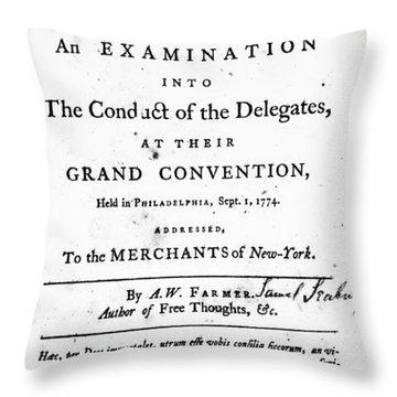 Continental Congress, 1774 Throw Pillow by Granger