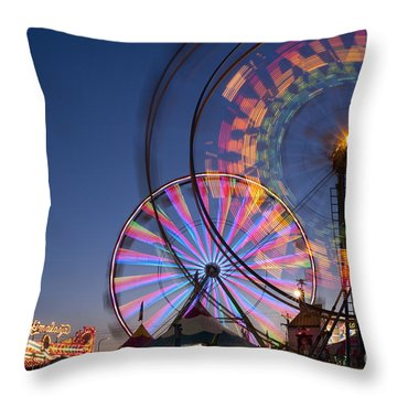 Evergreen State Fair With Ferris Wheel Throw Pillow