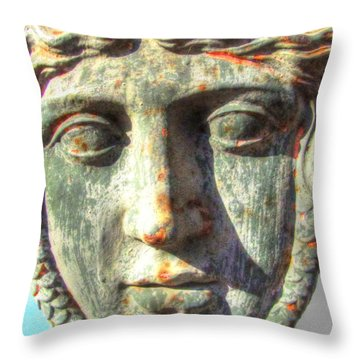 Throw Pillow featuring the pyrography Face by Yury Bashkin