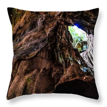 Green Grotto Caves Throw Pillow