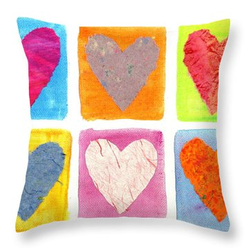 6 Hearts Collage Throw Pillow