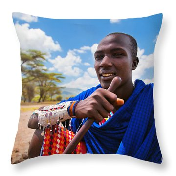 Maasai Man Portrait In Tanzania Throw Pillow by Michal Bednarek