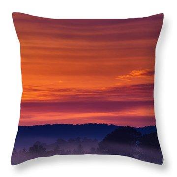 Misty Mountain Sunrise Throw Pillow by Thomas R Fletcher