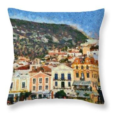 Mytilini Port Throw Pillow by George Atsametakis