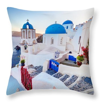 Oia Town On Santorini Greece Throw Pillow